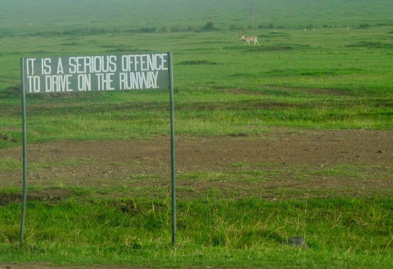 Kenya runway sign