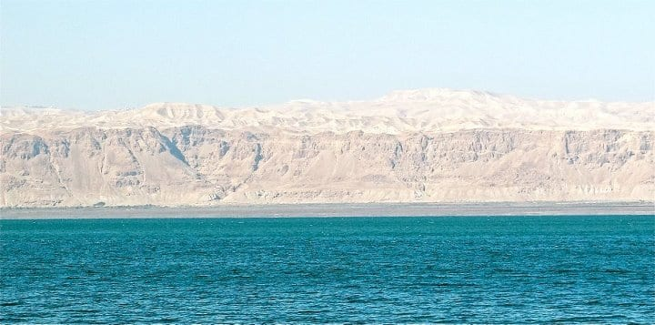 Israel as seen from the Jordanian side of the Dead Sea