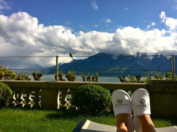Slippers and a sweeping view of Lake Geneva & the Alps - who needs a massage?
