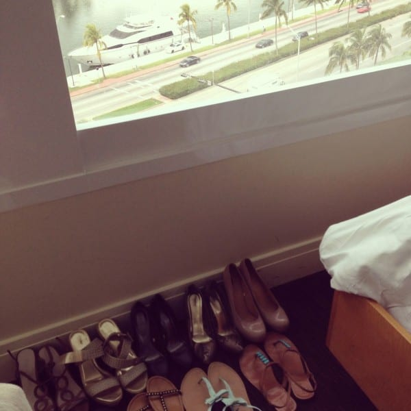 Do you think we have enough shoes for 2 nights? (And check out our yacht parked downstairs!)