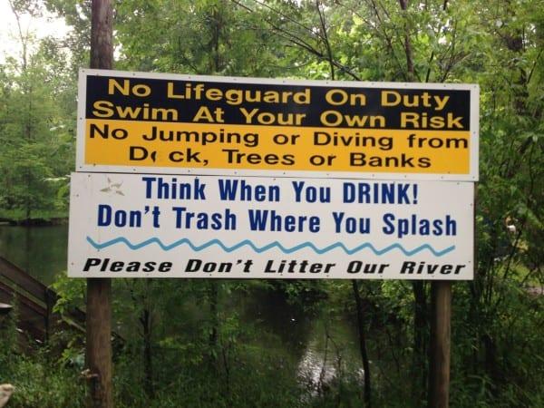 Warning signs at Ginnie