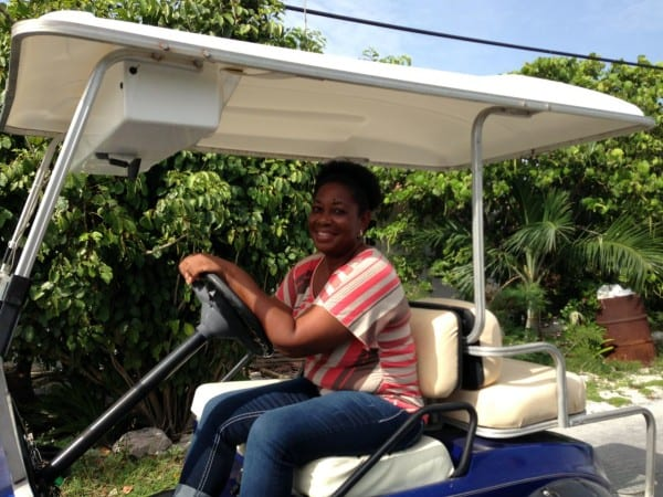 Nikki in her golf cart - do not pass go without stopping in to chat with her about Staniel!
