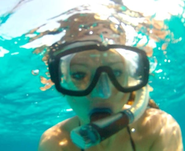 Snorkeling outside Thunderball Grotto in Staniel Cay