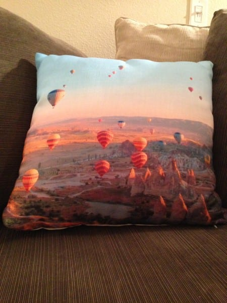 Project 3: I turned this photo of the hot air balloons in Cappadocia, Turkey, into a pillow. Isn't it beautiful? And it's really soft - I was expecting a much less cozy fabric.