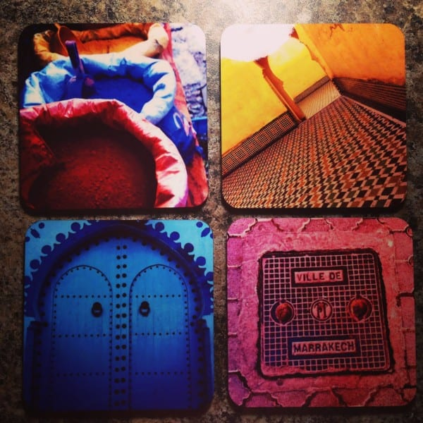 I took four of my favorite photos from Morocco and bam: gorgeous, colorful coasters for my living room!