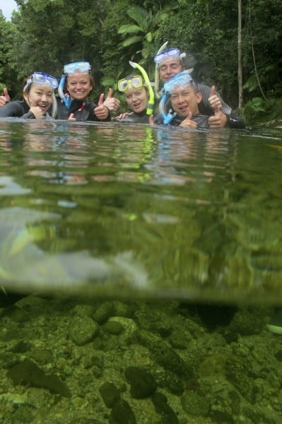 One way to cool off on a hot day in Queensland -- river drift snorkeling. Brrrrr!