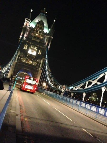 Walking across Tower Bridge in London. Never, ever gets old.
