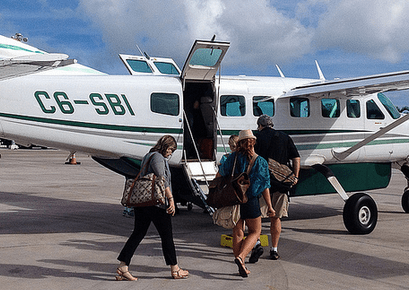 Boarding a charter flight to Staniel Cay, Exuma, in The Bahamas, with a really fun group of writers. No weird ones on this trip!