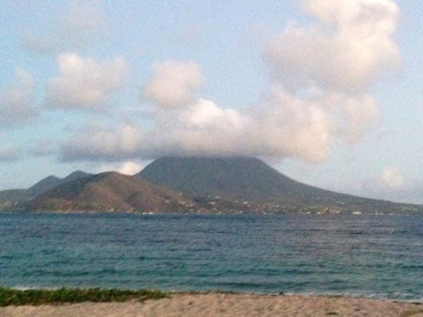 Nevis, as seen from neighboring St. Kitts.