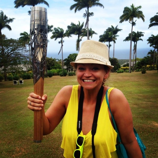 Holding the Queen's Baton - similar to the Olympic Torch - but for the upcoming Commonwealth Games. I never felt so close to my future husband, Prince Harry.