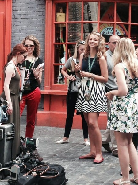 Filming in Diagon Alley during Preview Week
