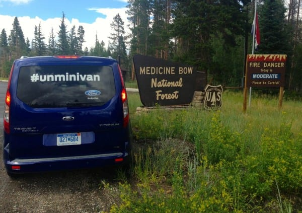 Let's go for it! Pictured: our #unminivan at the Medicine Bow Visitor's Center