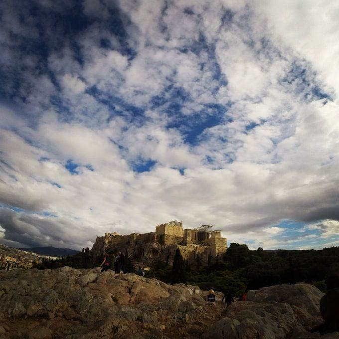 Clouds swirling around the Acropolis