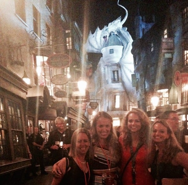 Carrie, Kristin & RaeRae and me at a media preview event inside Diagon Alley