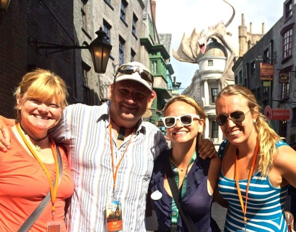 Deb & Dave from The Planet D and Kristin from Camels & Chocolate at the opening of Diagon Alley