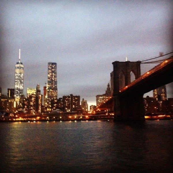The Brooklyn Bridge & the new WTC at dusk