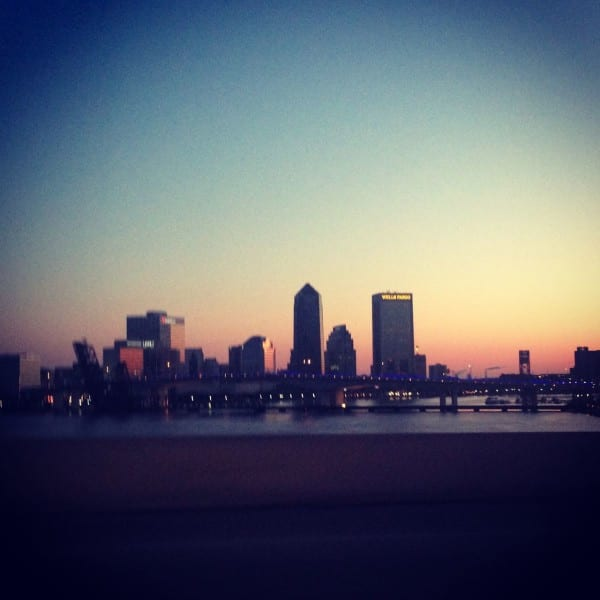 Downtown Jacksonville sunrise on the way to an early morning flight