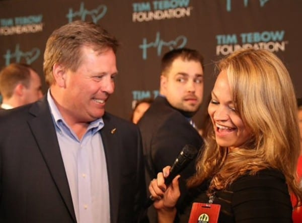 Red carpet reporting with Coach McElwain