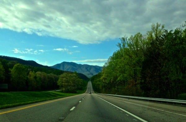 Driving toward the Smoky Mountains