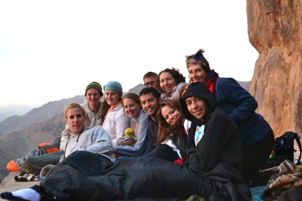On top of Mt. Sinai with a group of new friends