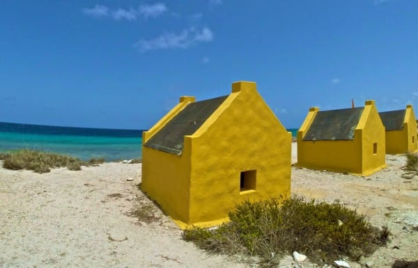Slave huts remain on the island as a reminder