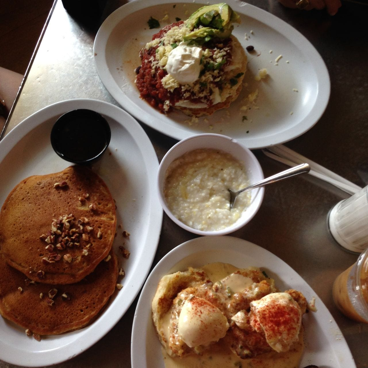 Cilantro Corn Pancakes, Fried Chicken Benedict and Sweet Potato Pancakes - you can't go wrong!