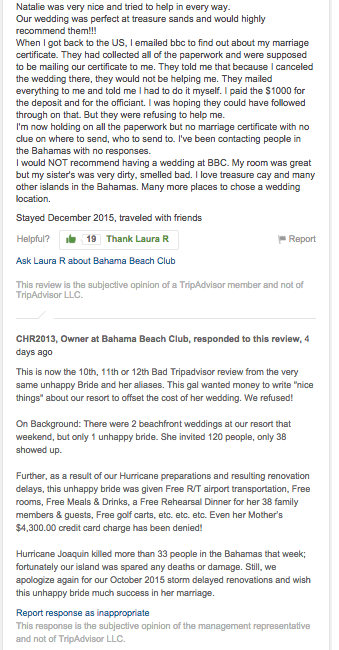 Bahama Beach Club Destination Wedding Review TripAdvisor Craig Roberts Abaco Treasure Cay