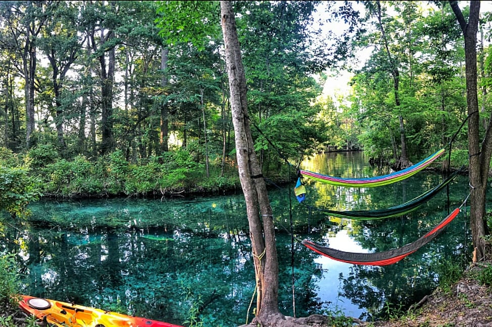 kayaks and hammocks at Ginnie Springs, Florida